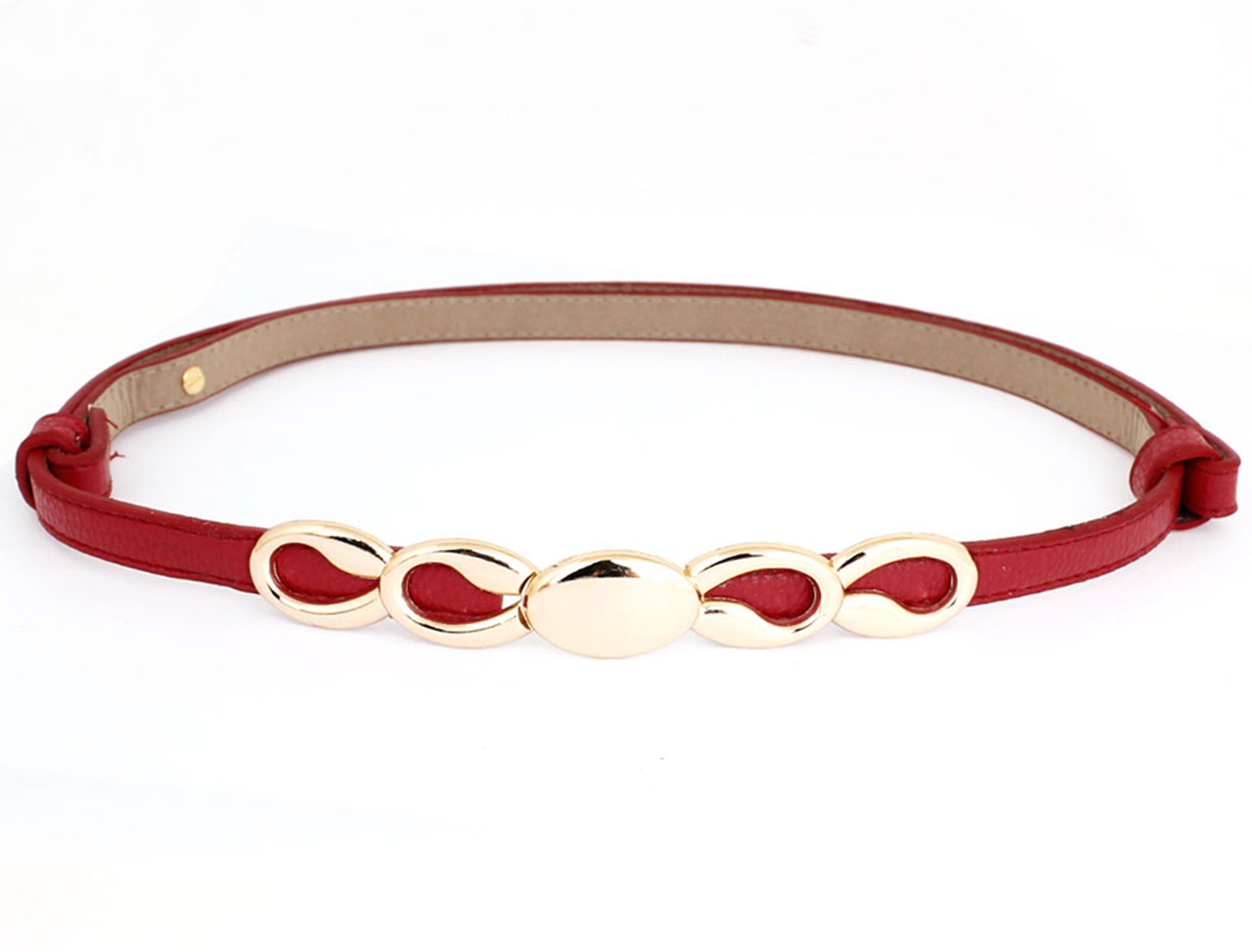 Women Eight Style Metal Interlocking Buckle Adjustable Skinny Belt Waistband Red