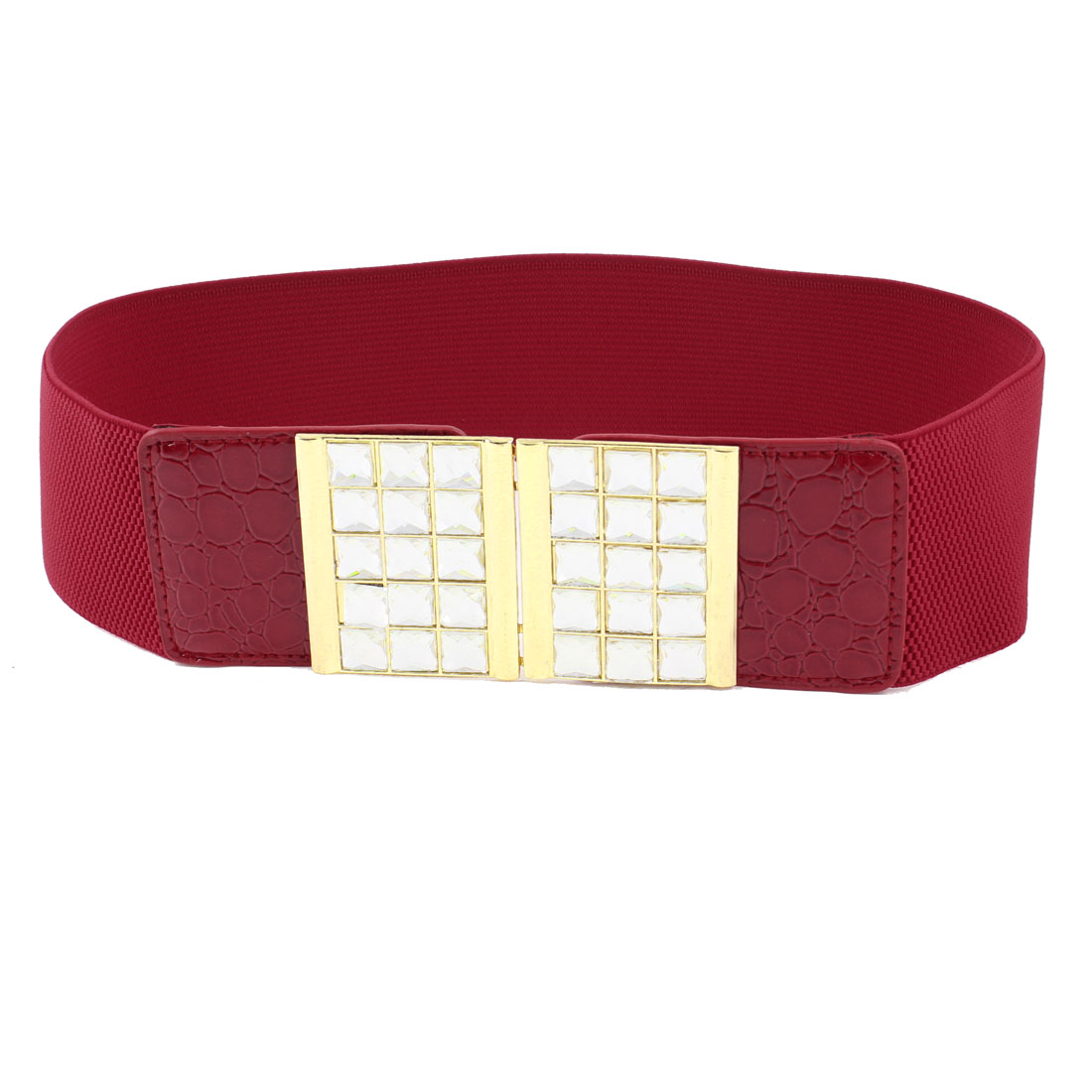 Ladies Bling Faceted Crystal Inlaid Hook Buckle Red Elastic Waist Band Belt