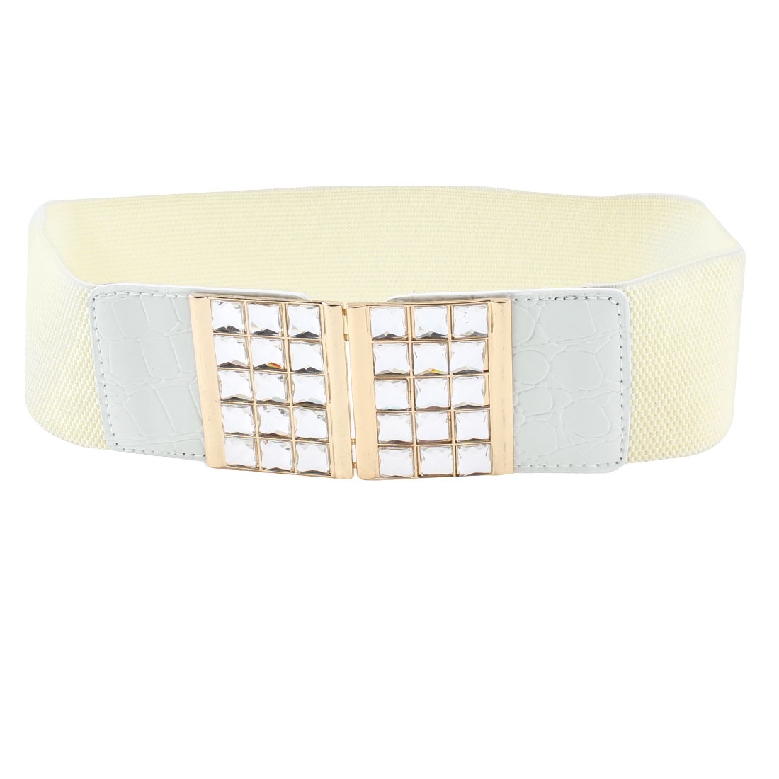 Ladies Bling Faceted Crystal Inlaid Hook Buckle Off White Elastic Waist Band Belt