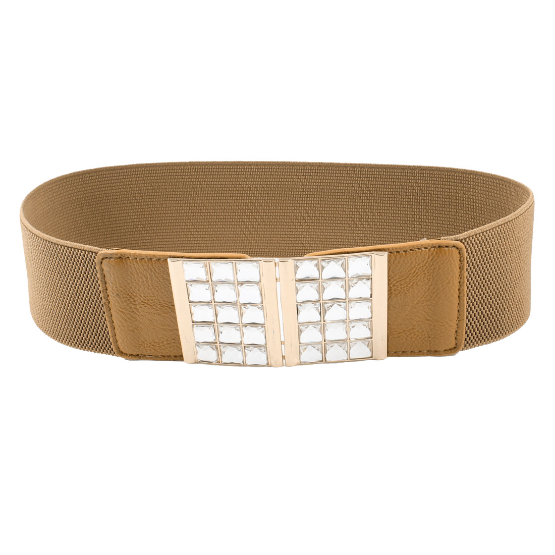 Ladies Bling Faceted Crystal Inlaid Hook Buckle Brown Elastic Waist Band Belt