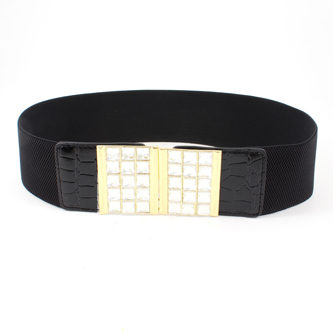 Ladies Bling Faceted Crystal Inlaid Hook Buckle Black Elastic Waist Band Belt