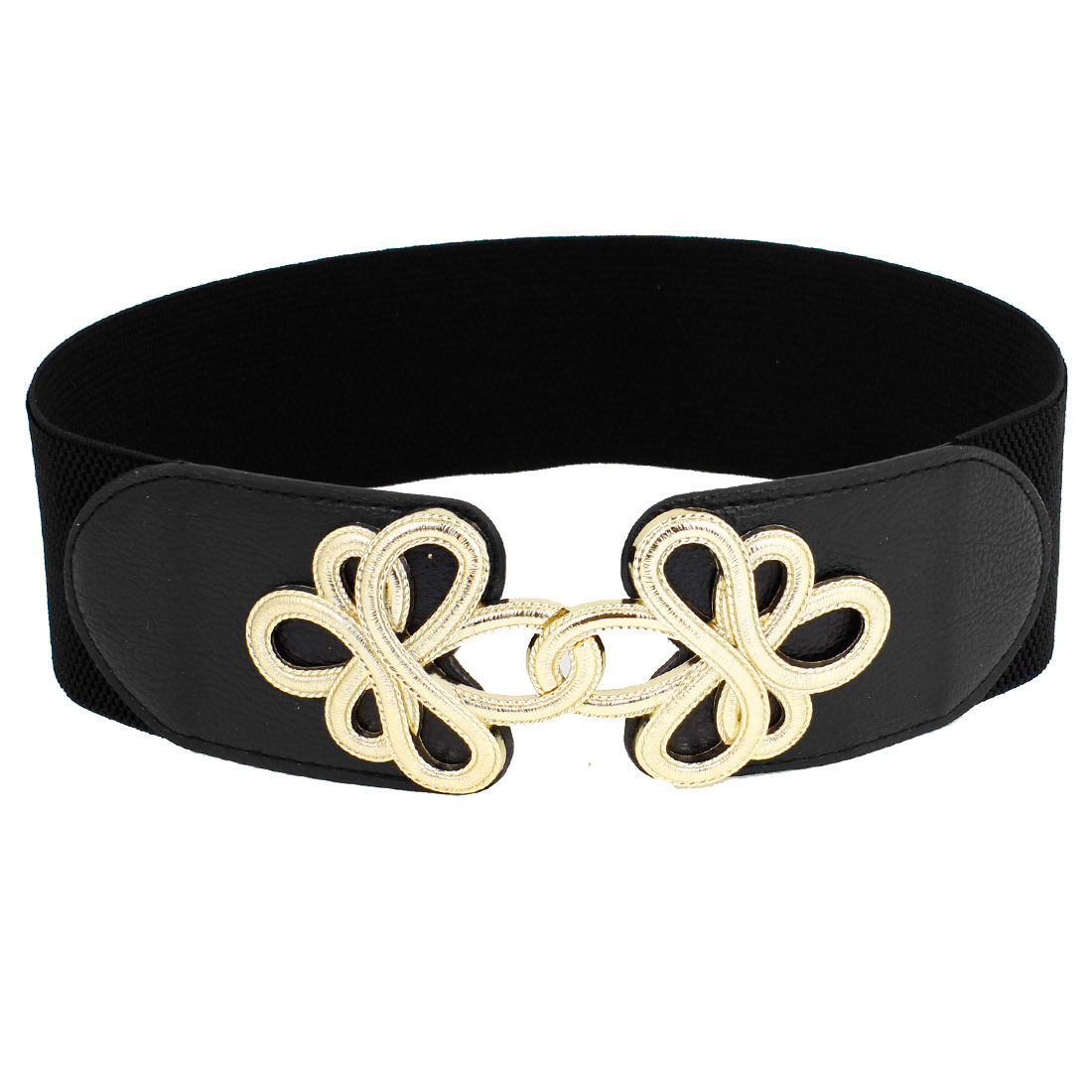 Metal Flower Interlock Buckle Elastic Fabric Waist Cinch Belt Black for Women