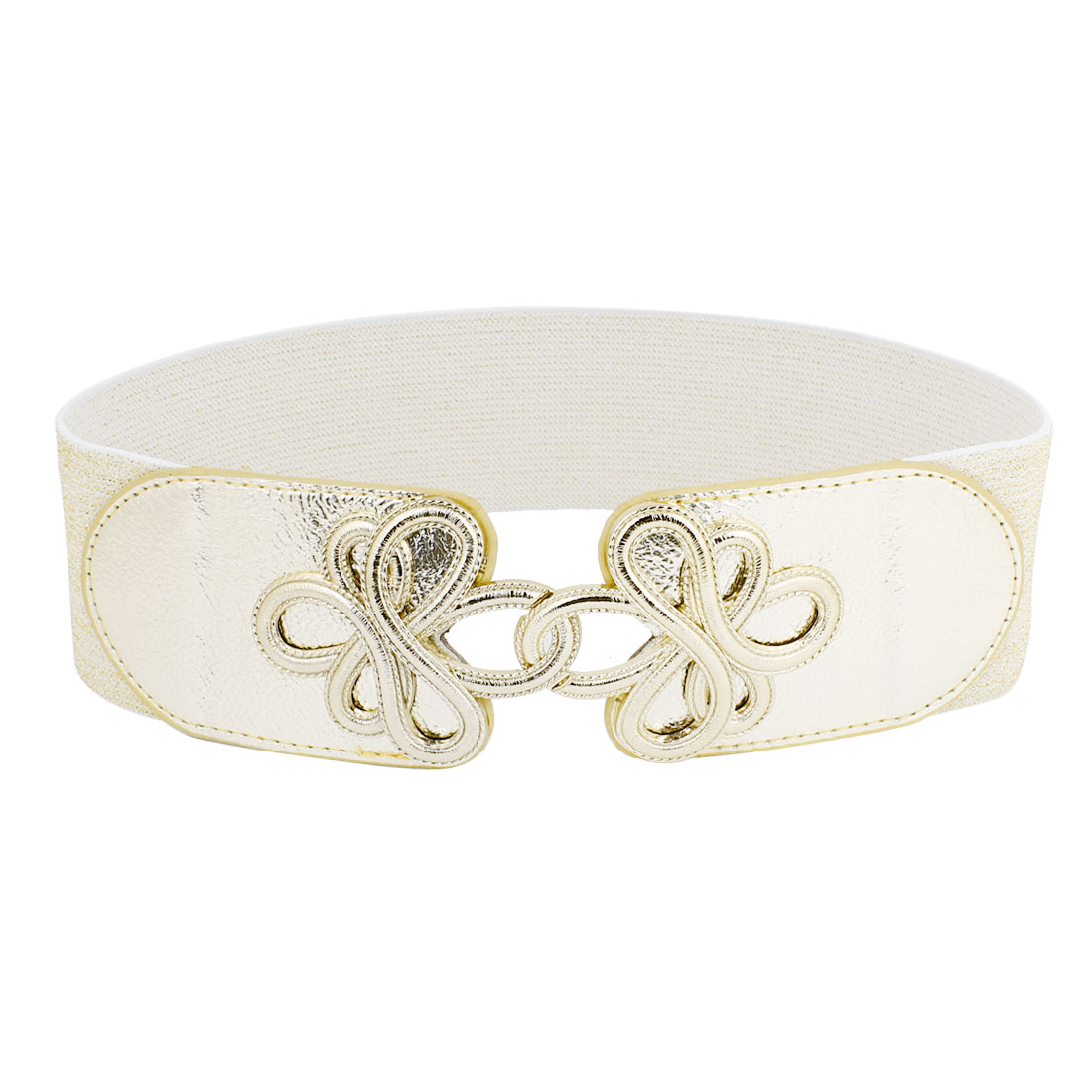 Metal Flower Interlock Buckle Elastic Fabric Waist Cinch Belt Gold Tone for Women