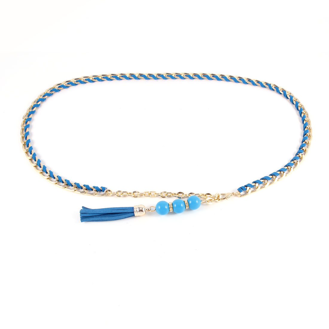 Lobster Clasp Closure Tassel Plastic Beads Chain Belt Pale Blue for Women