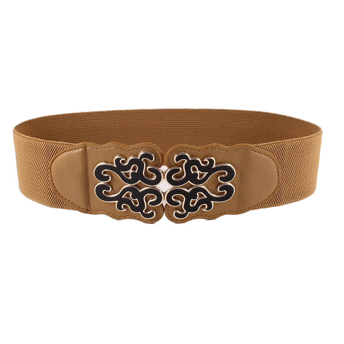 Brown Folk Floral Detail Interlocking Buckle Elastic Waist Belt for Women