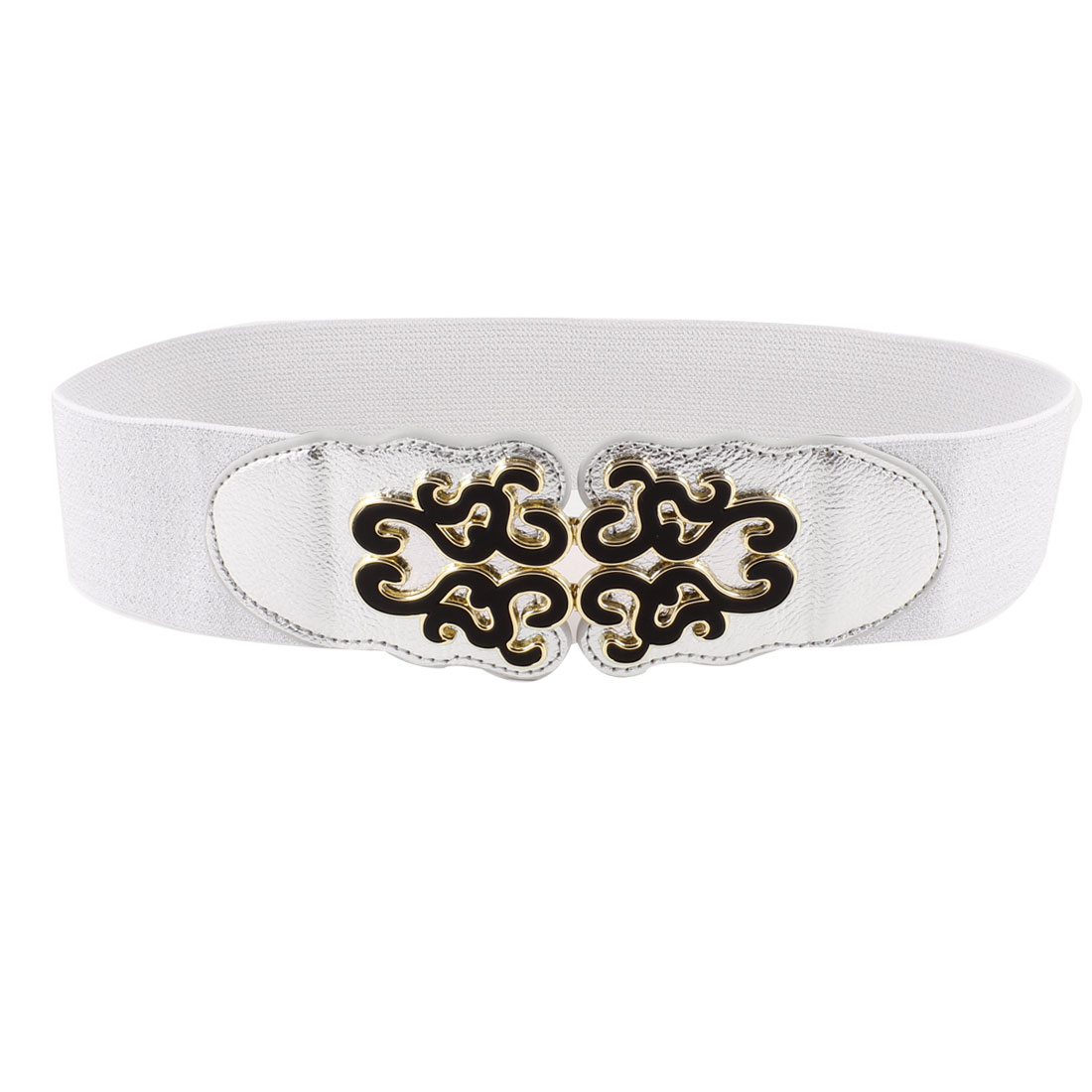 Silver Tone Folk Floral Detail Interlocking Buckle Elastic Waist Belt for Women