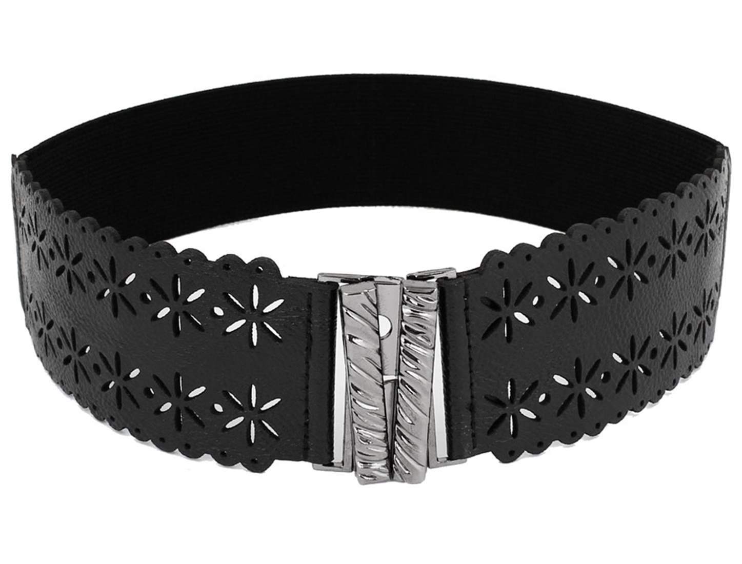 Interlocking Buckle Hollow Out Flower Decor Black Elastic Waist Belt for Women