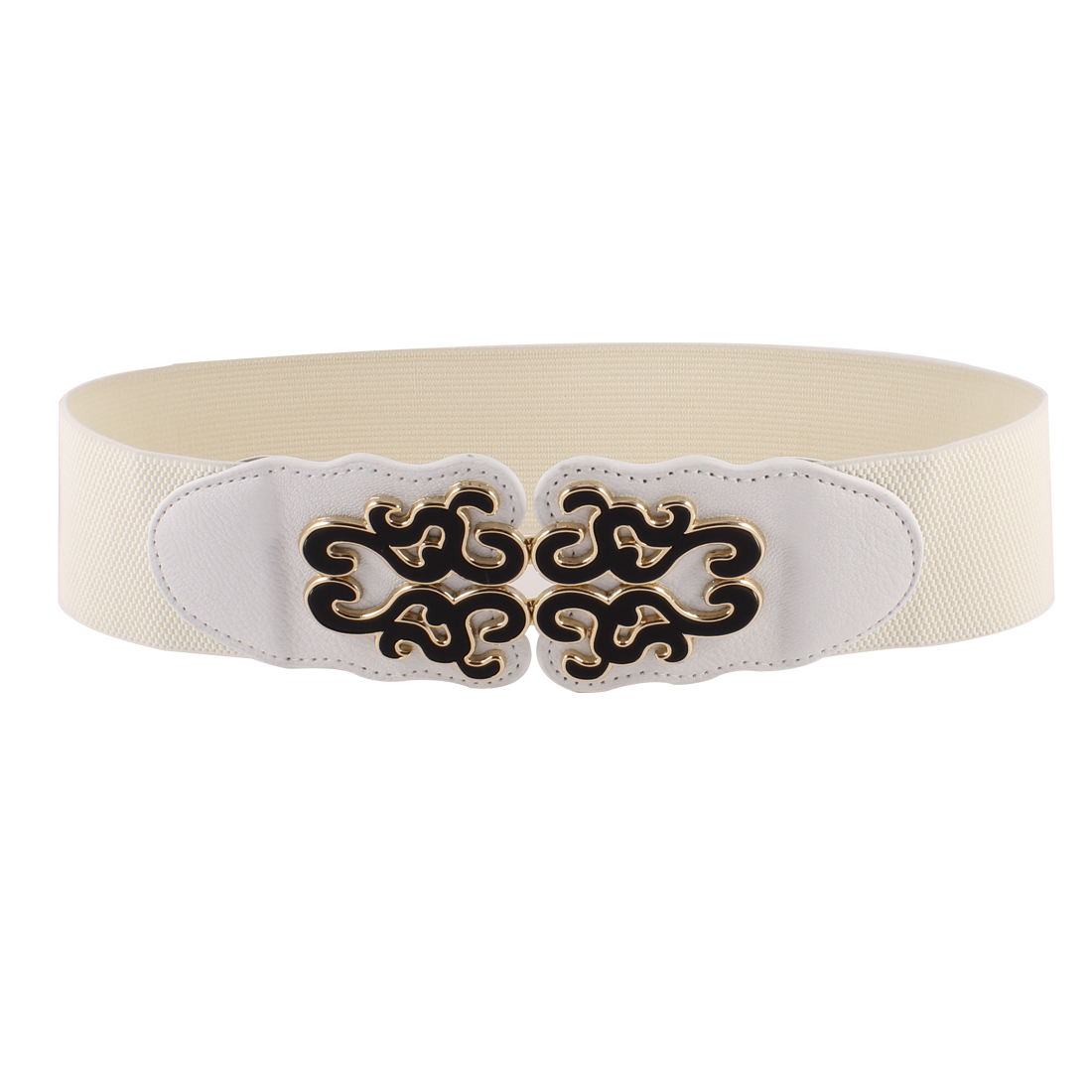 Women Faux Leather Ethnic Floral Ornament Interlock Buckle Stretchy Belt White