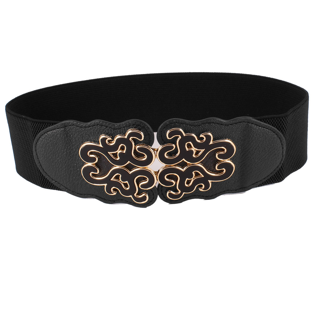 Black Folk Floral Detail Interlocking Buckle Elastic Waist Belt for Women
