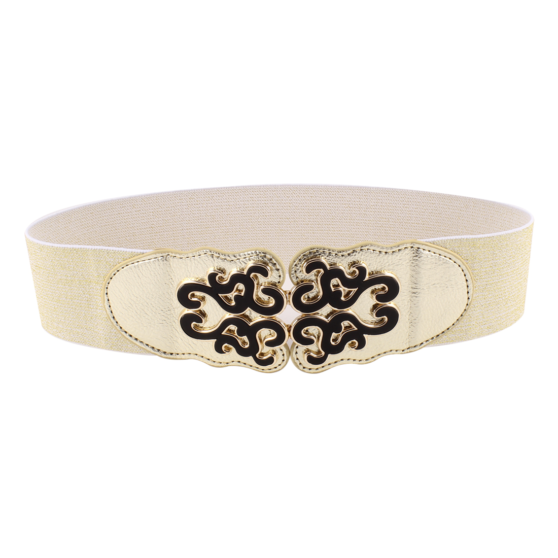Women Faux Leather Ethnic Floral Ornament Interlock Buckle Stretchy Belt Gold Tone
