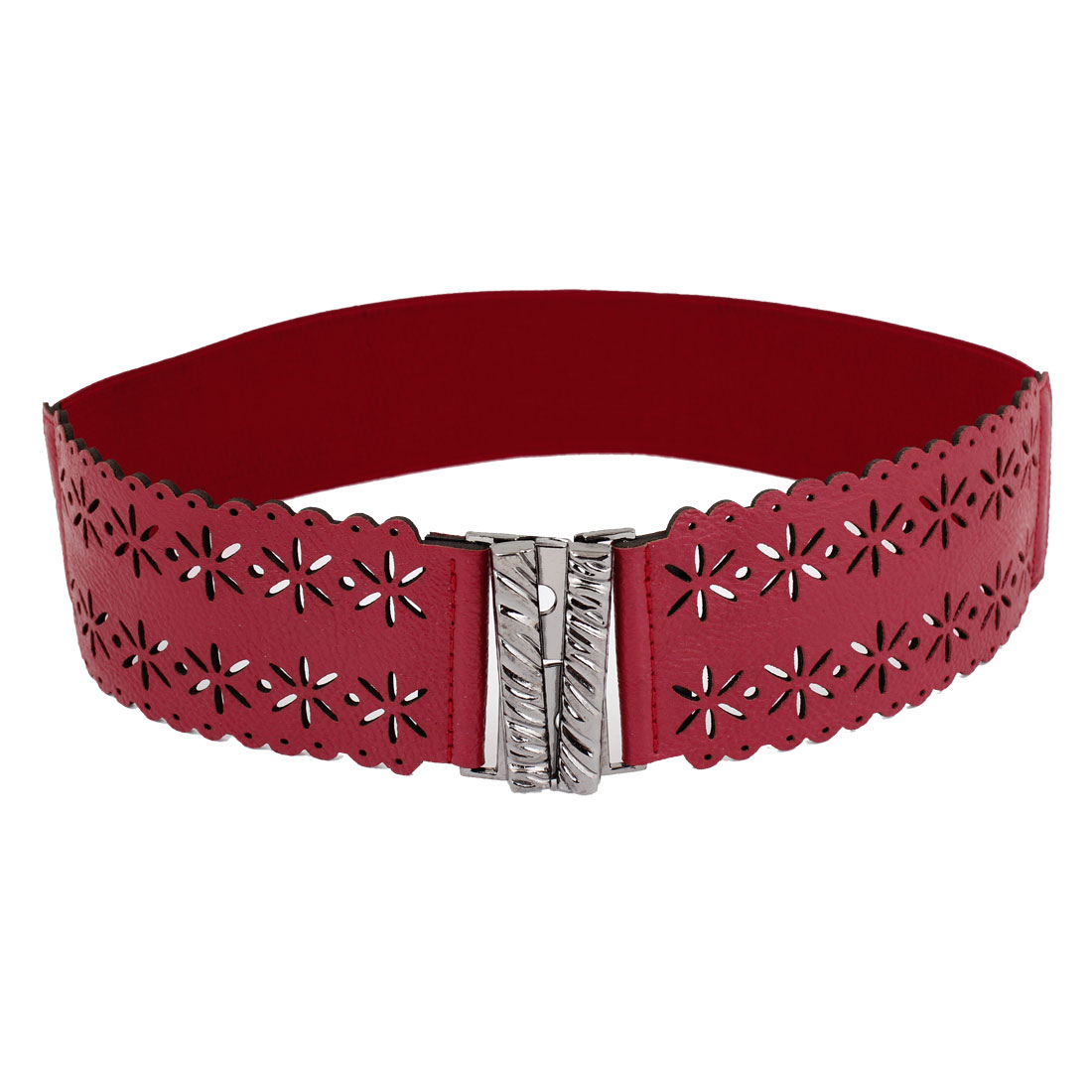 Interlocking Buckle Hollow Out Flower Decor Elastic Waist Belt Red for Women