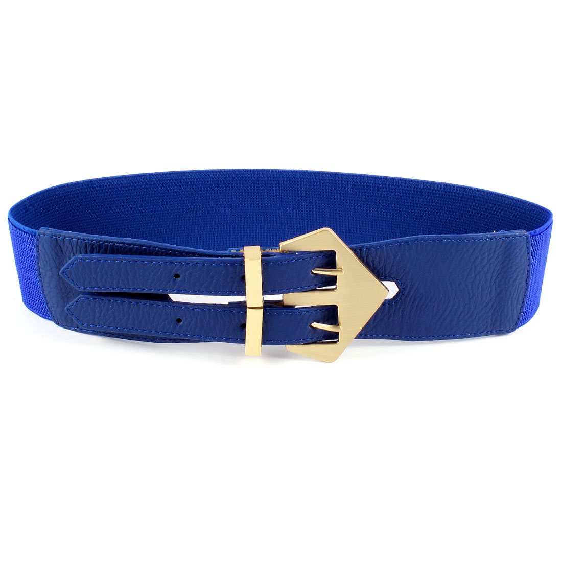 Double Pin Buckle 6cm Wide Adjustable Elastic Belt Blue for Ladies