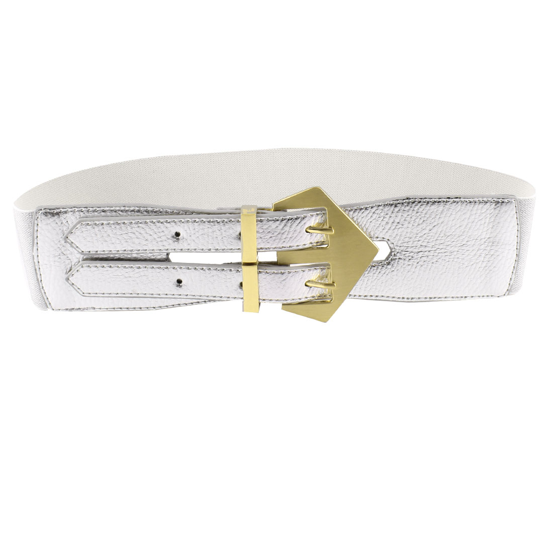 Faux Leather Dual Pin Buckle Stretchy Waist Belt Silver Tone for Woman