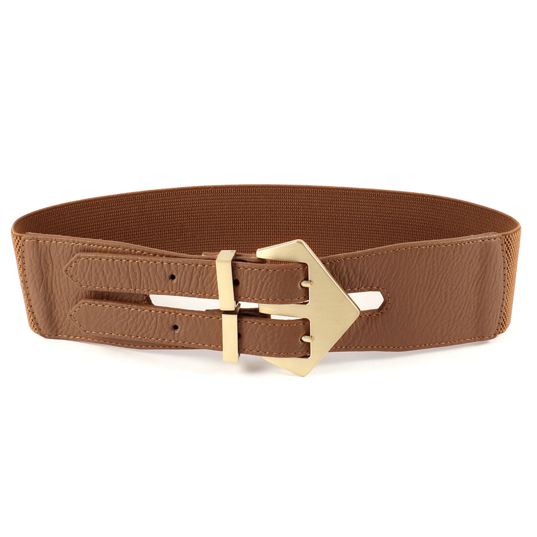Double Pin Buckle 6cm Wide Adjustable Elastic Belt Brown for Ladies