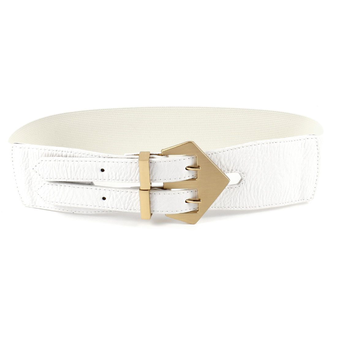 White Double Pin Buckle Faux Leather Elastic Cinch Dress Belt for Women