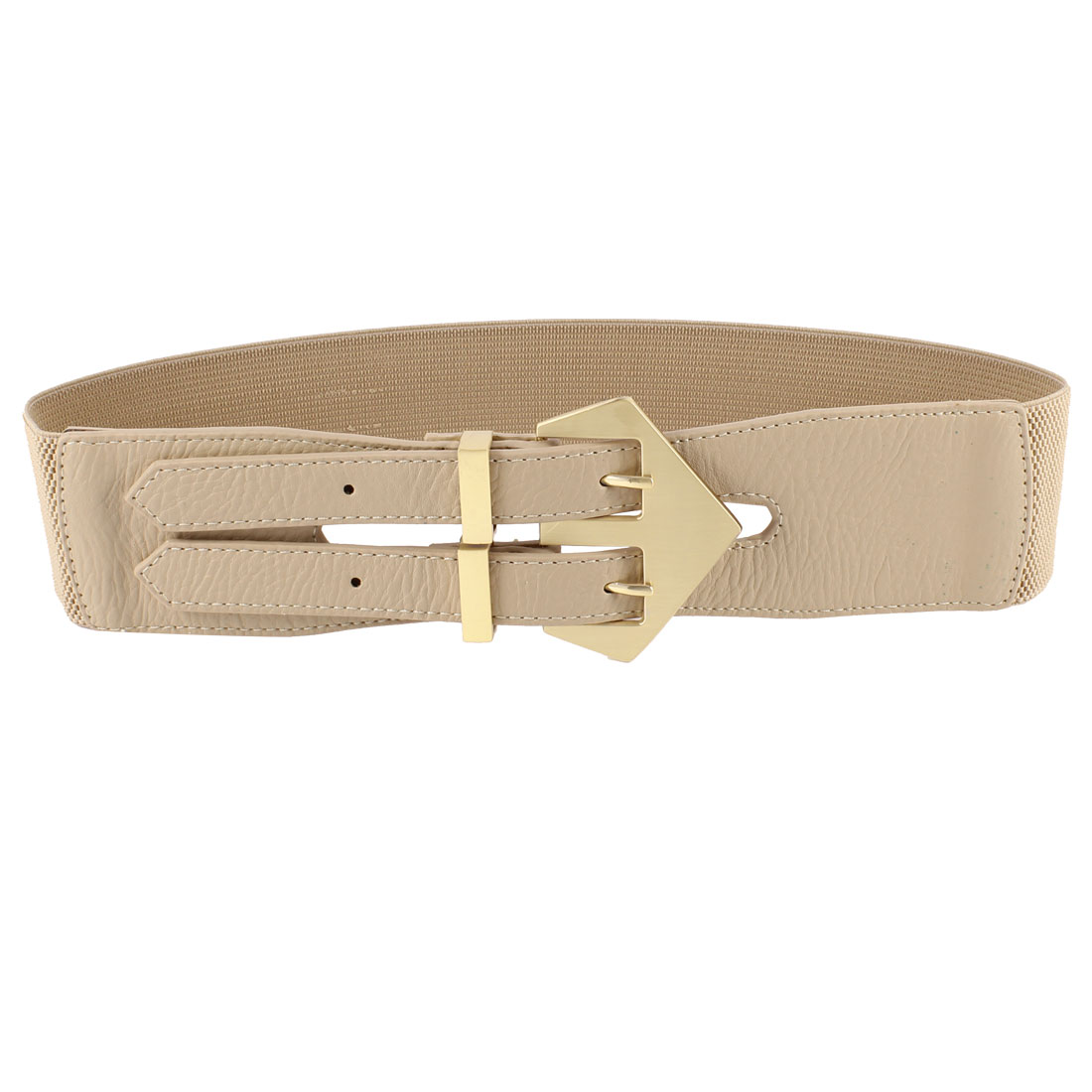 Khaki Double Pin Buckle Faux Leather Elastic Cinch Dress Belt for Women