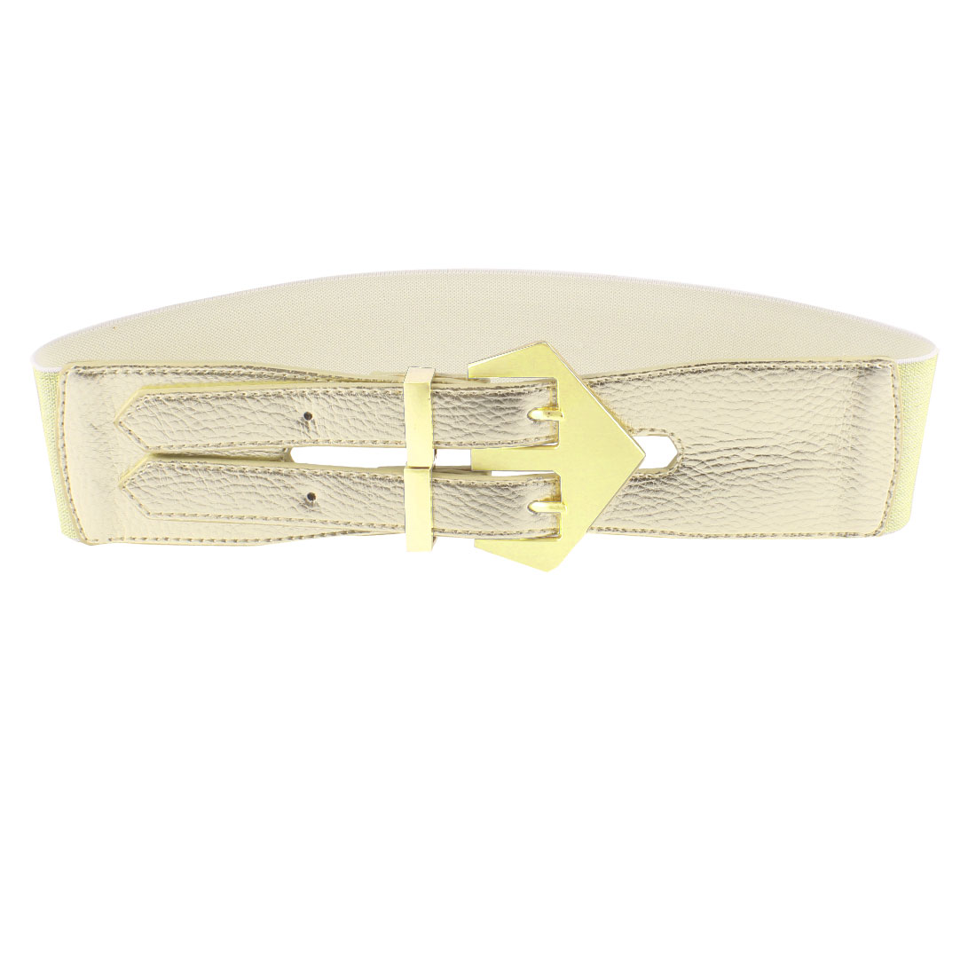 Double Pin Buckle 6cm Wide Adjustable Elastic Belt Gold Tone for Ladies