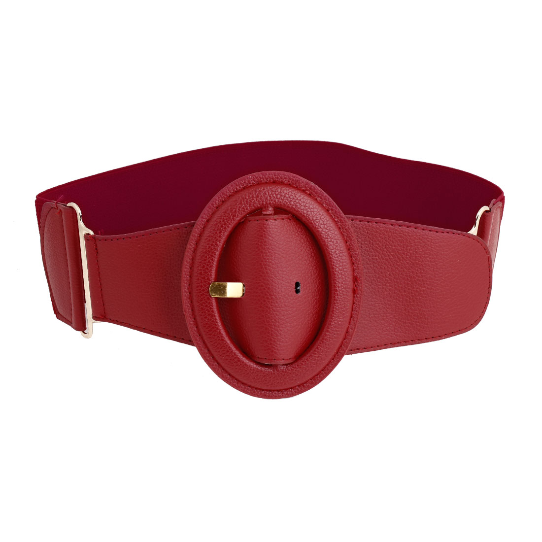 Lady One Pin Buckle Faux Leather Accent Wide Stretch Cinch Waistband Belt Red