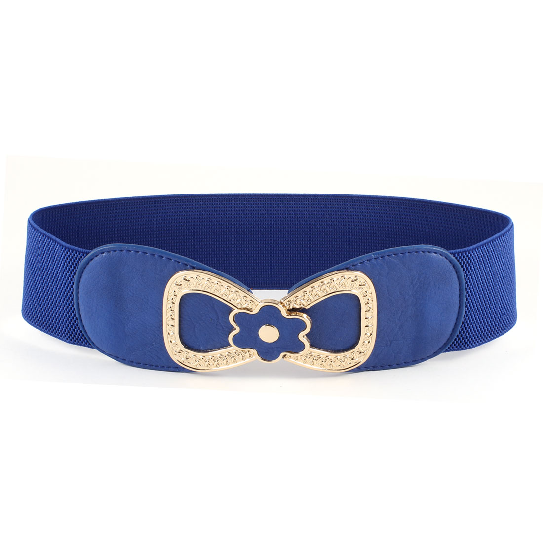 Blue Woman Faux Leather Metal 8 Shape Interlock Buckle Stretchy Waist Belt