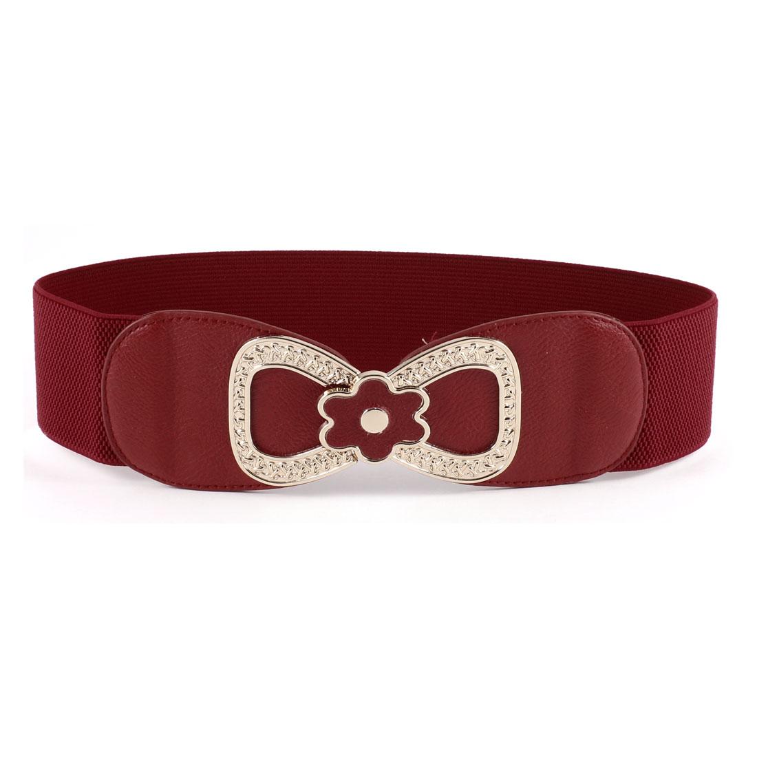 Metal 8 Style Interlocking Buckle 6cm Wide Elastic Belt Red for Ladies