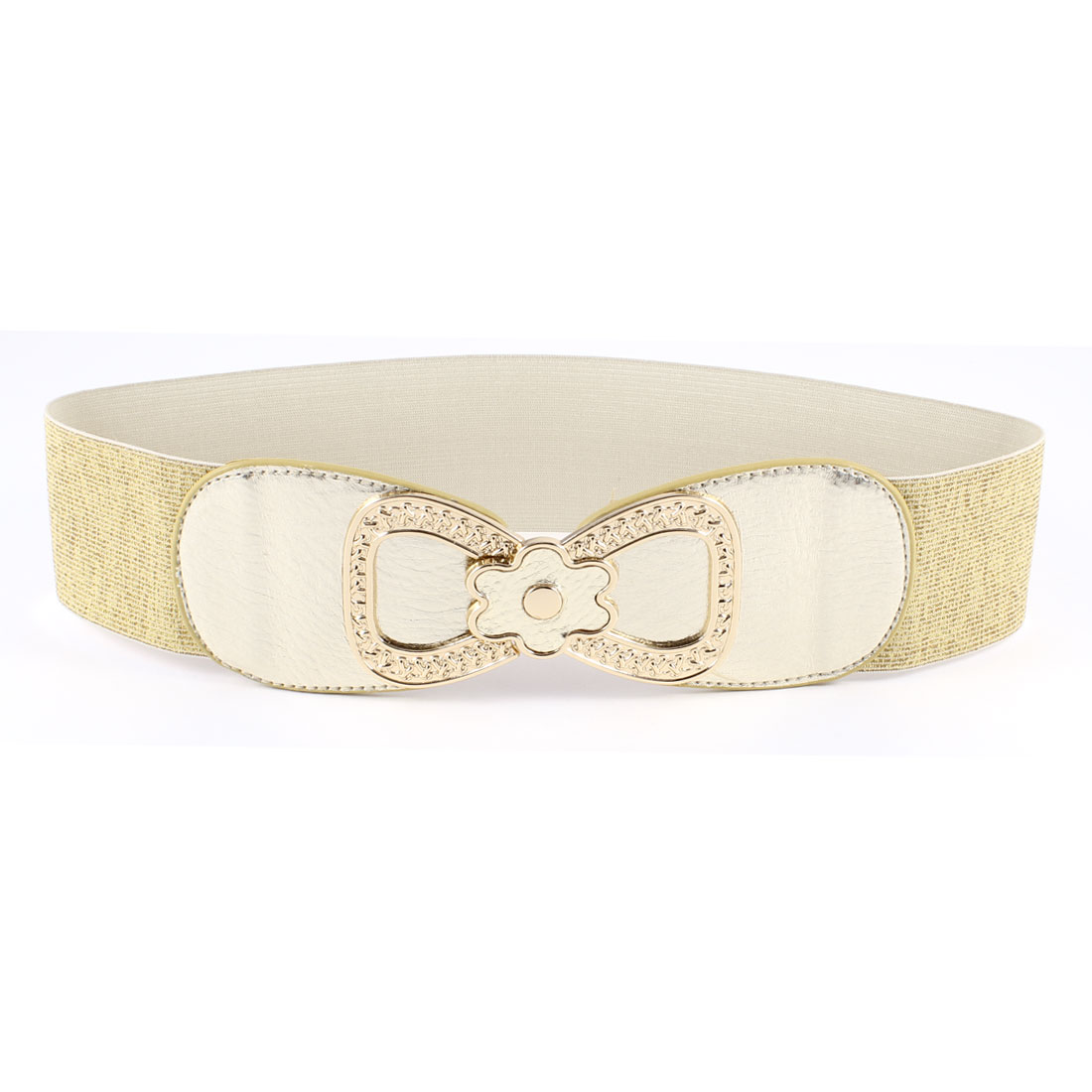 Gold Tone Woman Faux Leather Metal 8 Shape Interlock Buckle Stretchy Waist Belt