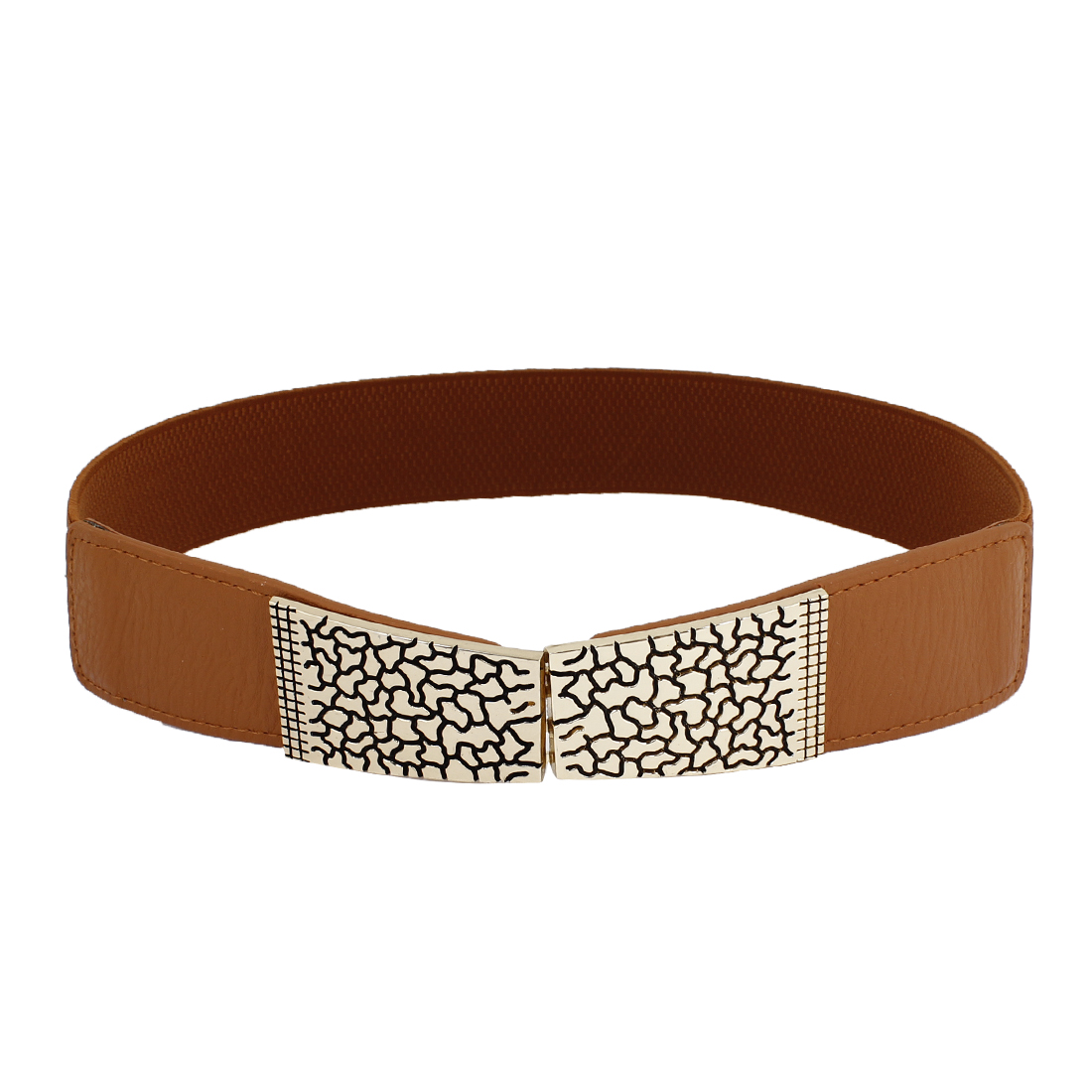 Woman Lady Crack Design Metal Interlock Buckle Eleastic Cinch Belt Brown