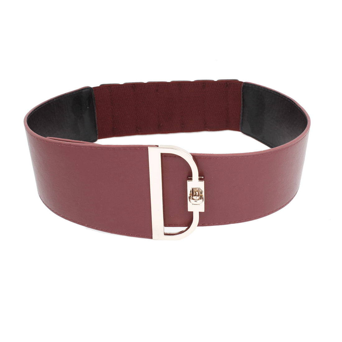 Metal Turn Lock Buckle Burgundy Faux Leather Coated Cinch Belt for Women