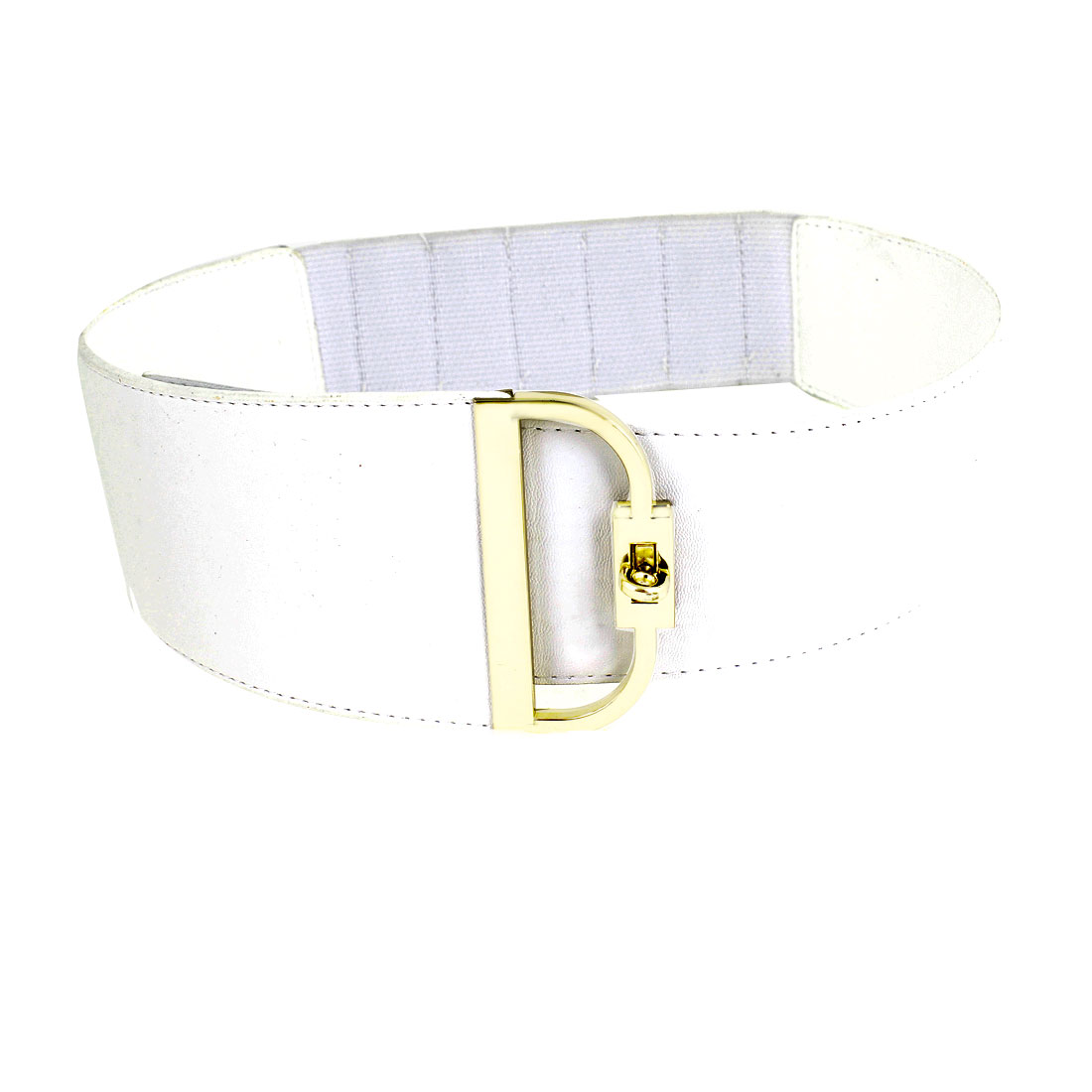 Metal Turn Lock Buckle White Faux Leather Coated Cinch Belt for Women