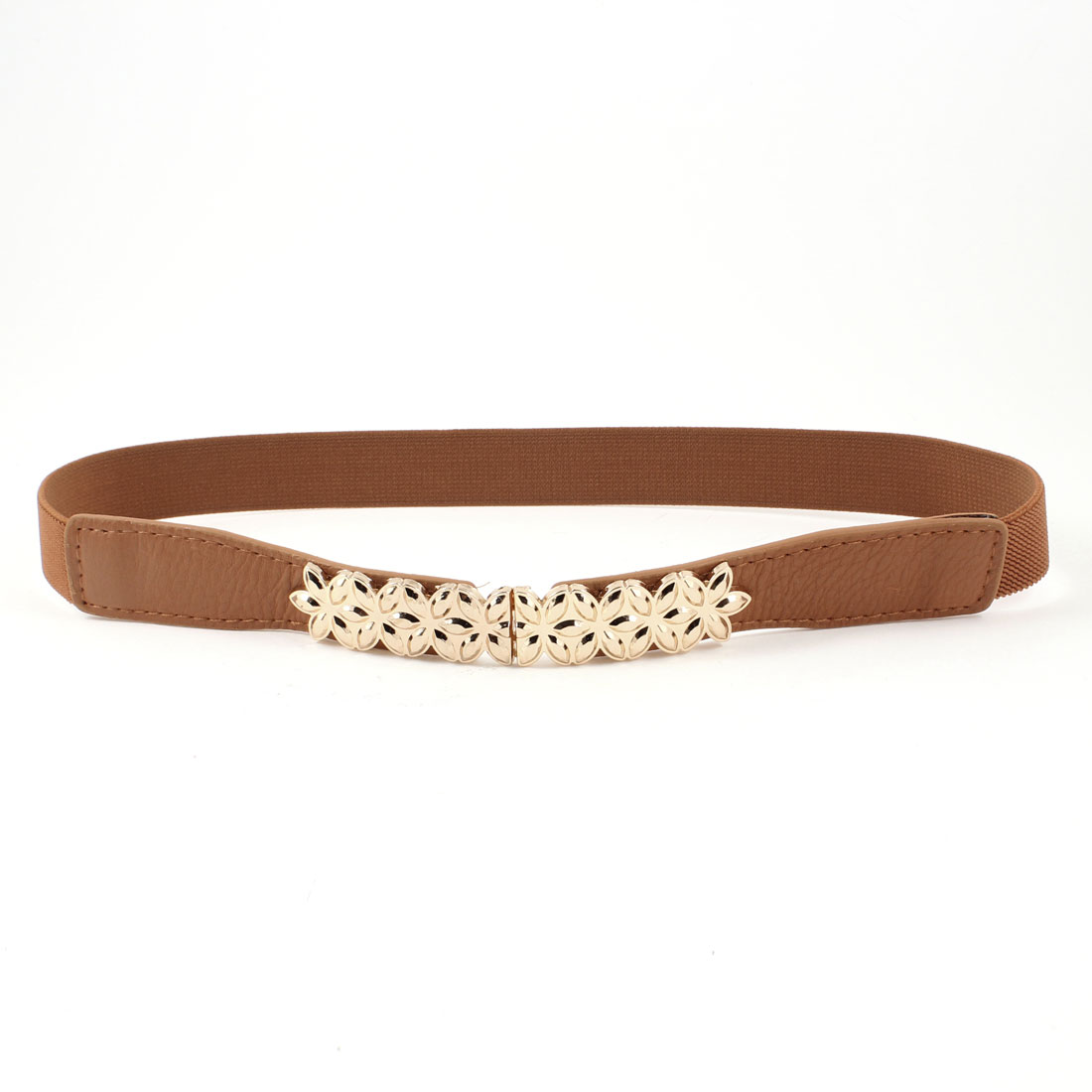 Gold Tone Metal Flower Decor Brown Elastic Skinny Waist Band Belt for Women