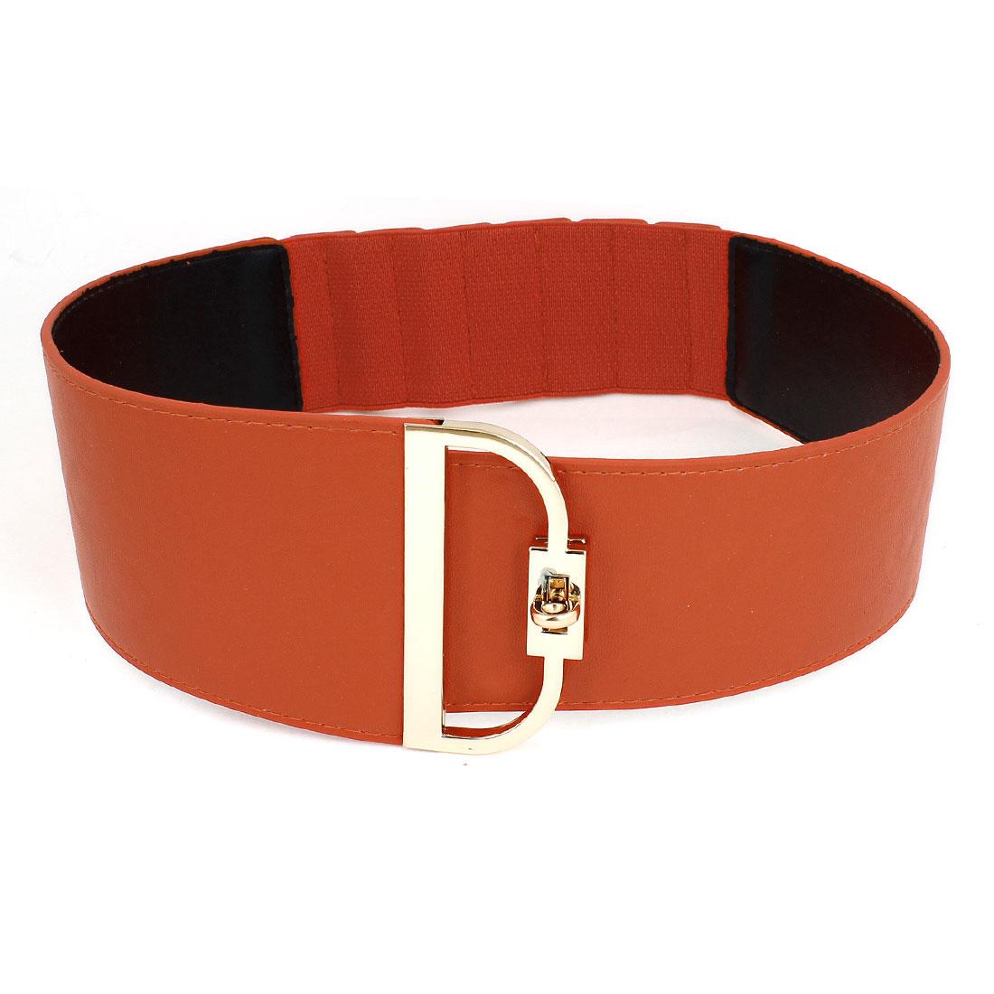 Woman Lady Orange Red Faux Leather Wrapped Metal Turn Lock Buckle Cinch Belt