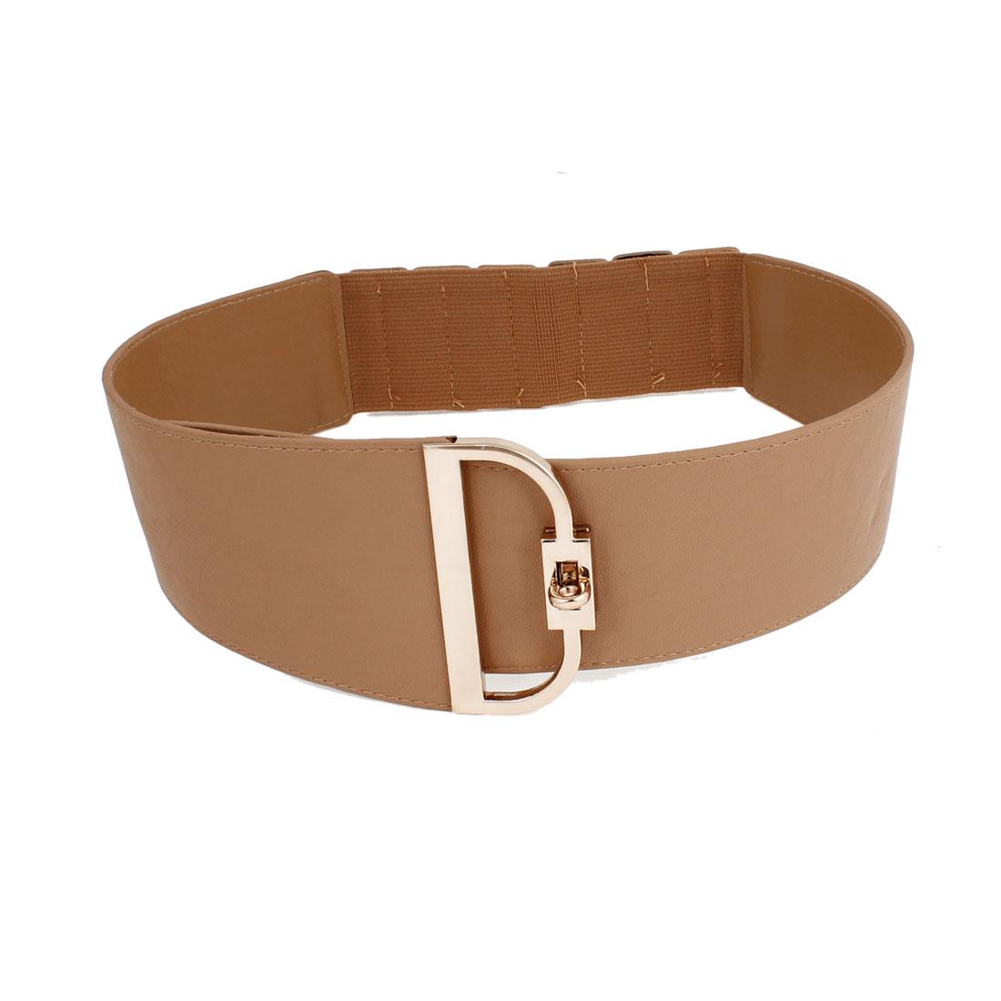 Metal Turn Locking Buckle Brown Faux Leather Waist Cinch Belt fot Ladies