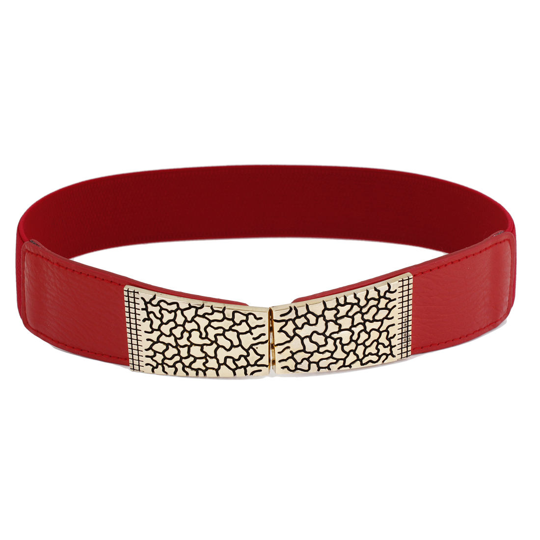 Gold Tone Crack Design Interlock Buckle Waist Cinch Belt Red for Women