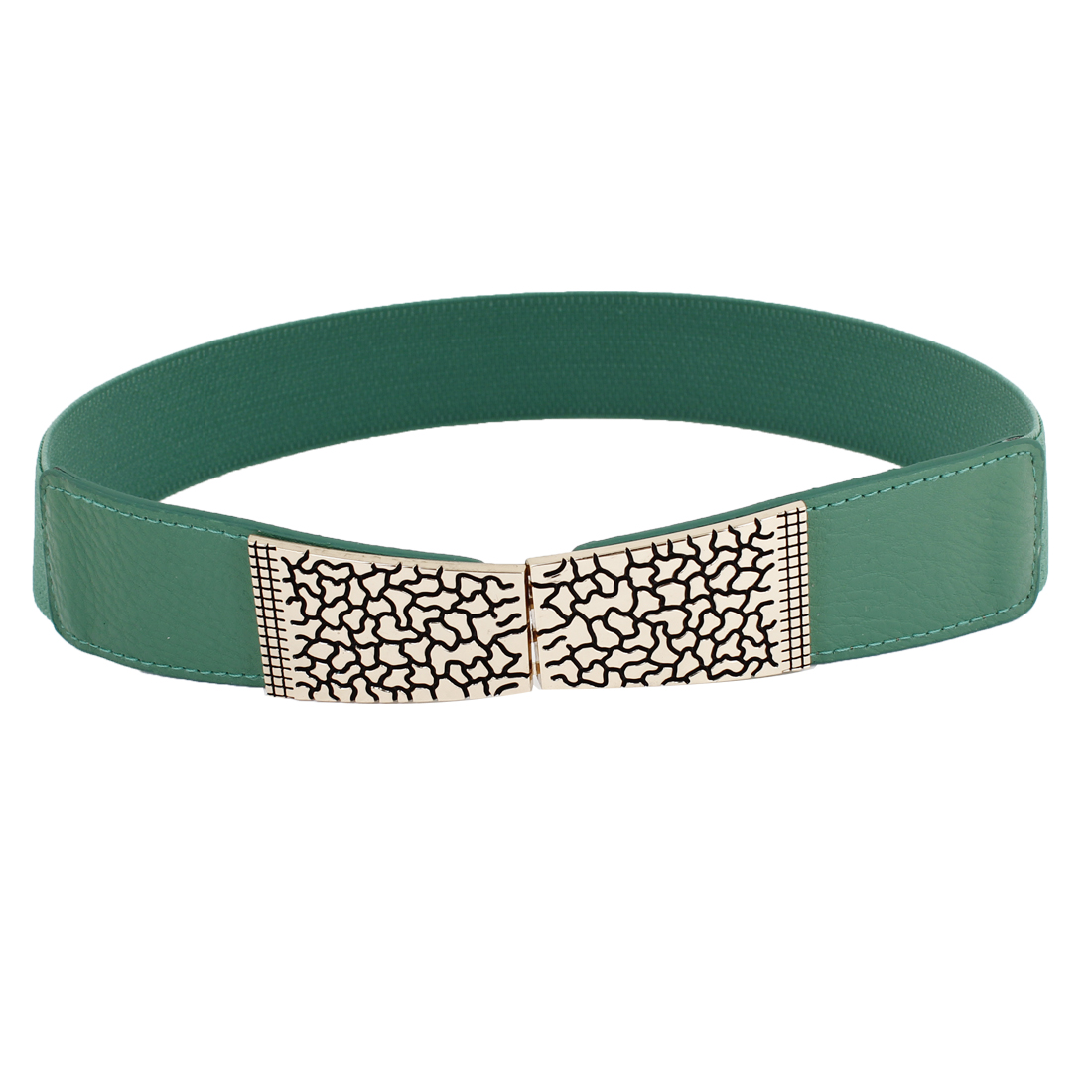 Metal Crack Design Interlocking Buckle Stretchy Cinch Belt Green for Ladies