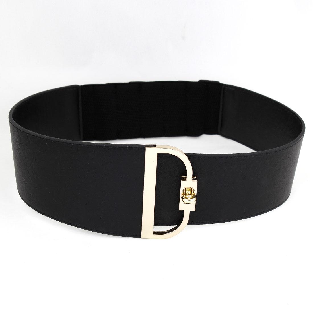 Woman Lady Black Faux Leather Wrapped Metal Turn Lock Buckle Cinch Belt