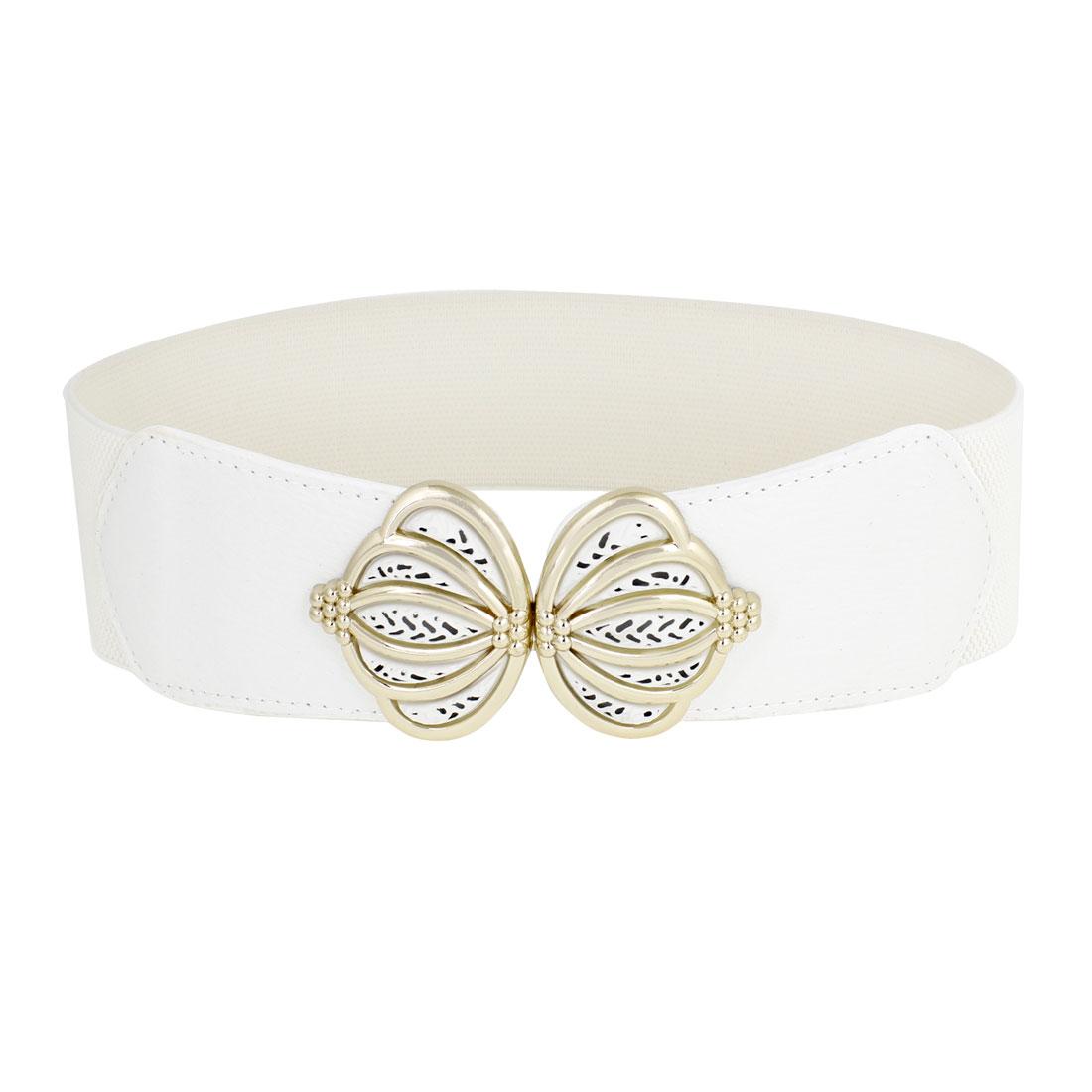 Woman Lady 6cm Width Crown Interlock Buckle Stretch Waist Cinch Belt White