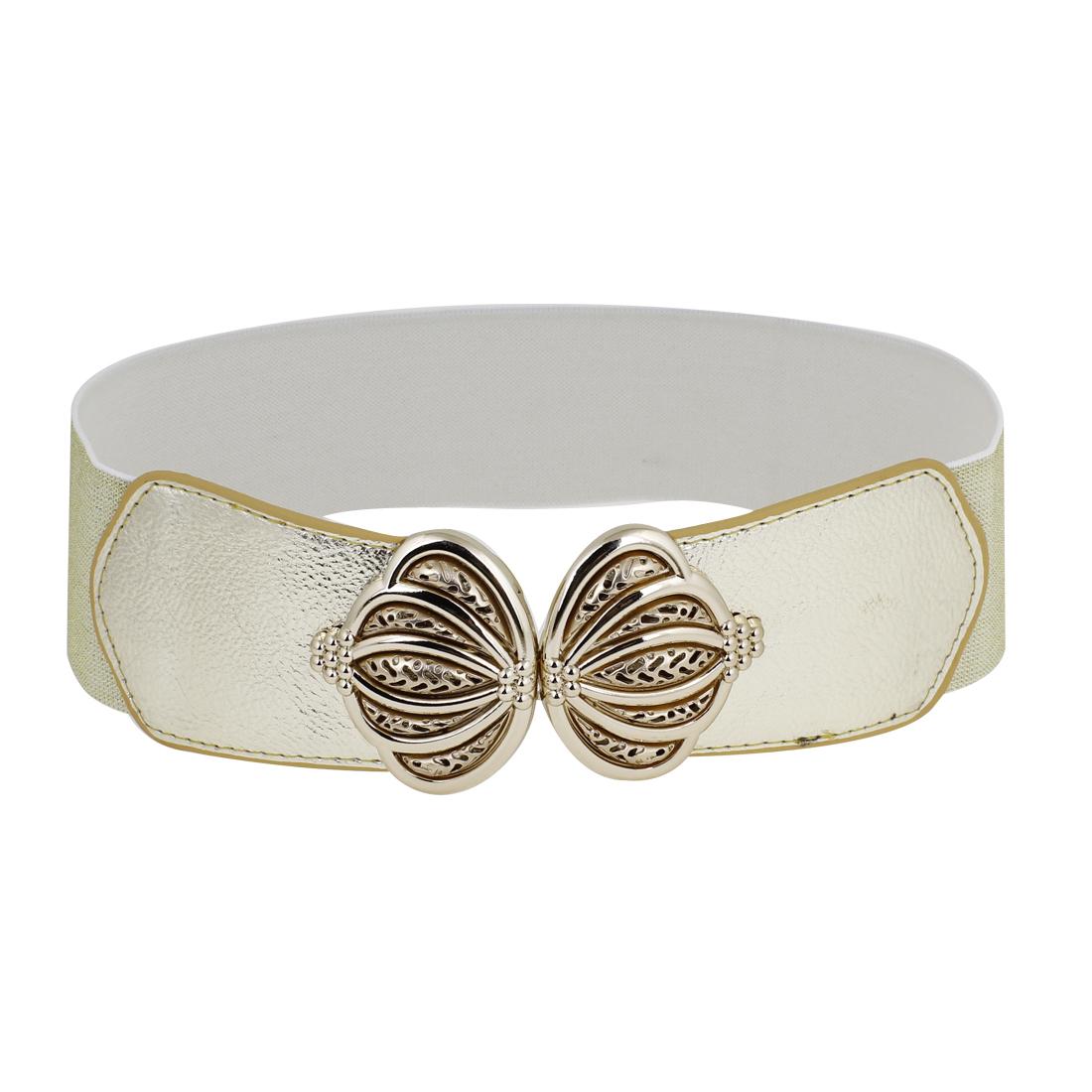 6cm Wide Crown Interlocking Buckle Elastic Fabric Cinch Belt Gold Tone for Lady