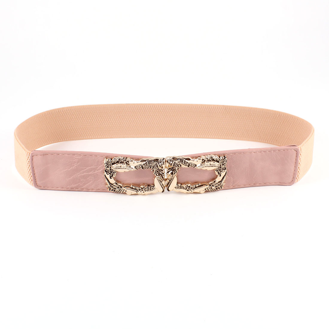 Women Metal Snake Ornament Interlocking Buckle 4cm Wide Elastic Belt Pink