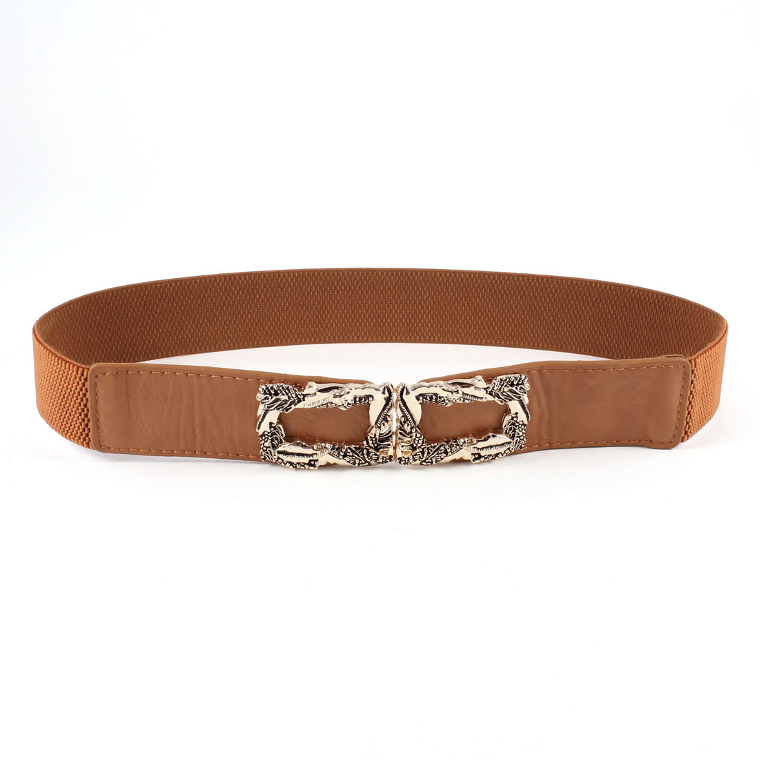 Ladies Metal Snake Decor Interlock Buckle Elastic Cinch Waist Belt Brown