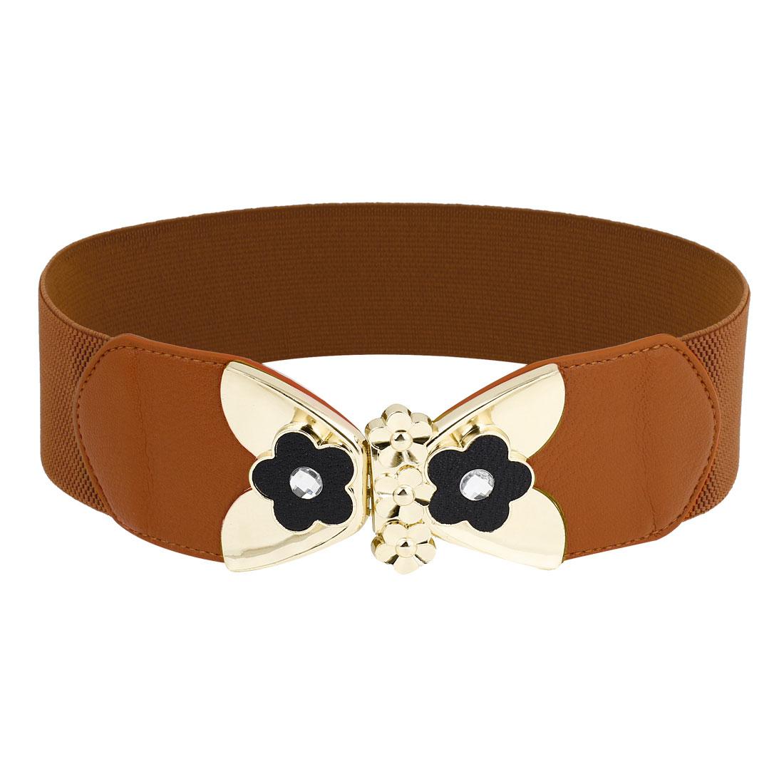 Women Ladies 6cm Wide Metal Interlock Buckle Brown Stretch Cinch Belt