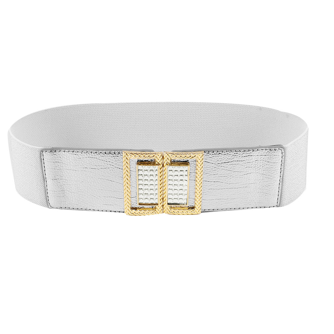 Silver Tone Interlocking Buckle Rhinestone Adorning 6cm Wide Elastic Belt for Women
