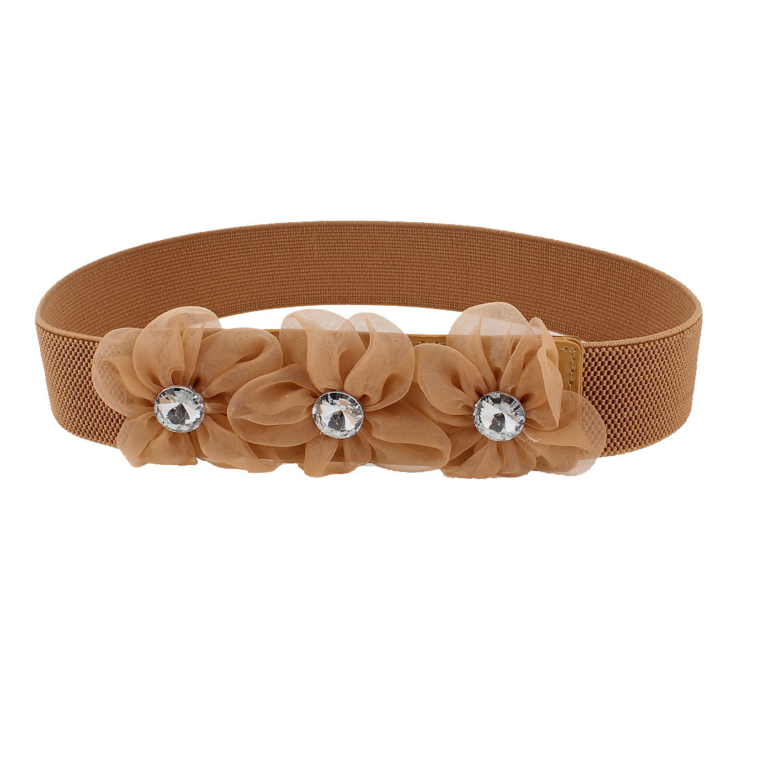 Lady Faceted Crystal Inlaid Brown Organza Flower Decor Elastic Waist Band Belt