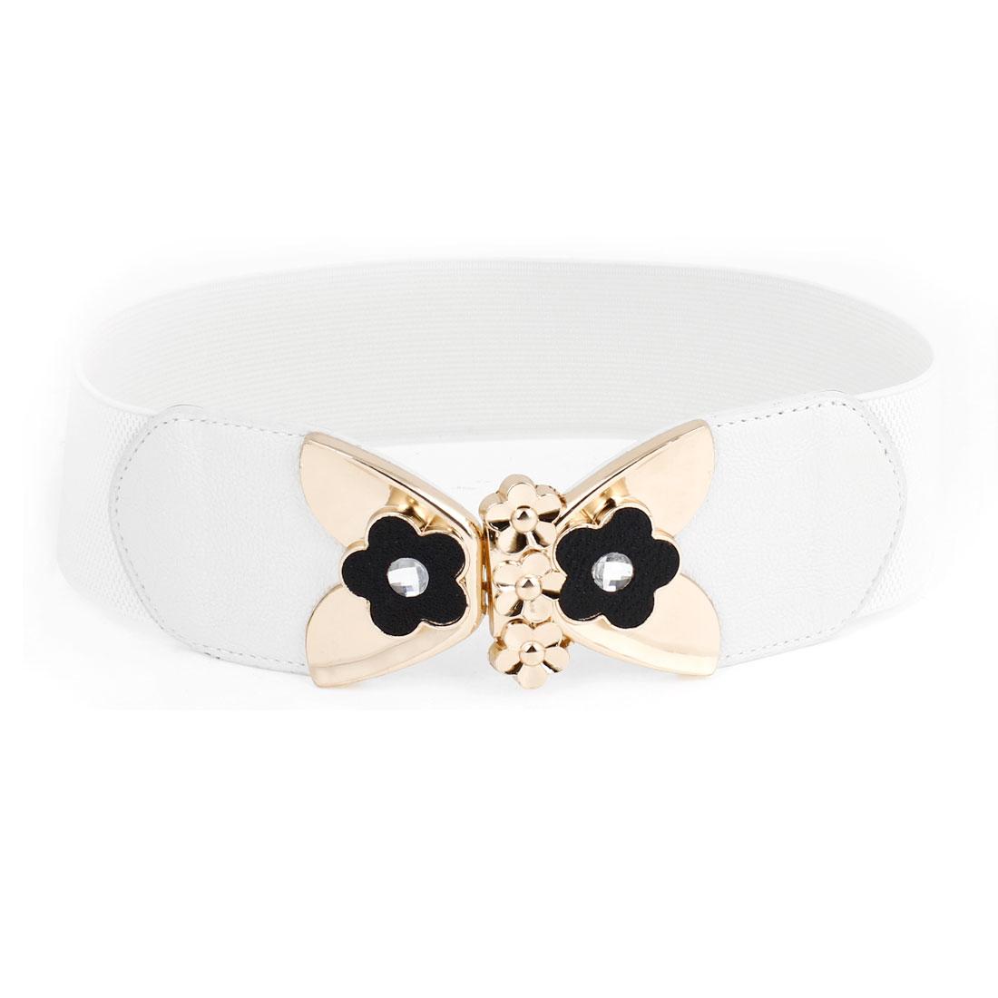 Metal Butterfly Interlocking Buckle White Waist Cinch Belt for Ladies