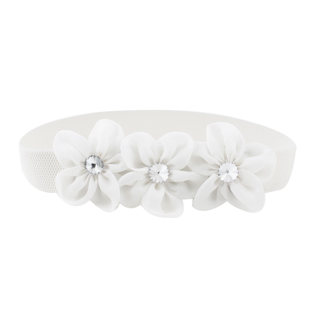 Lady Faceted Crystal Inlaid White Organza Flower Decor Elastic Waist Band Belt