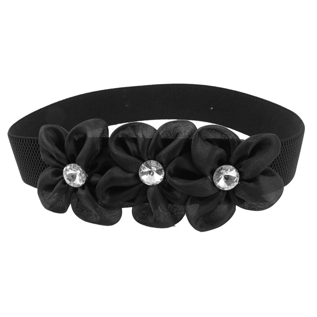 Lady Faceted Crystal Inlaid Black Organza Flower Decor Elastic Waist Band Belt