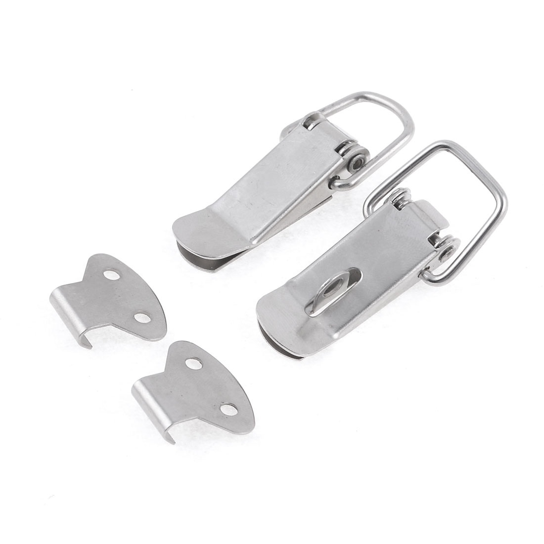 2 Pcs Boxes Case Silver Tone Spring Loaded Toggle Latch Hasp