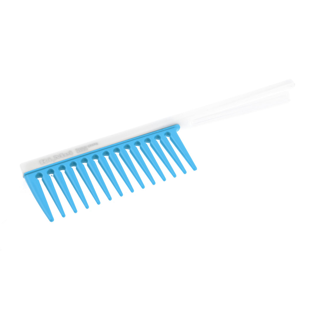 Lady Nonslip Handle Plastic Wide Toothed Hair Comb Blue White