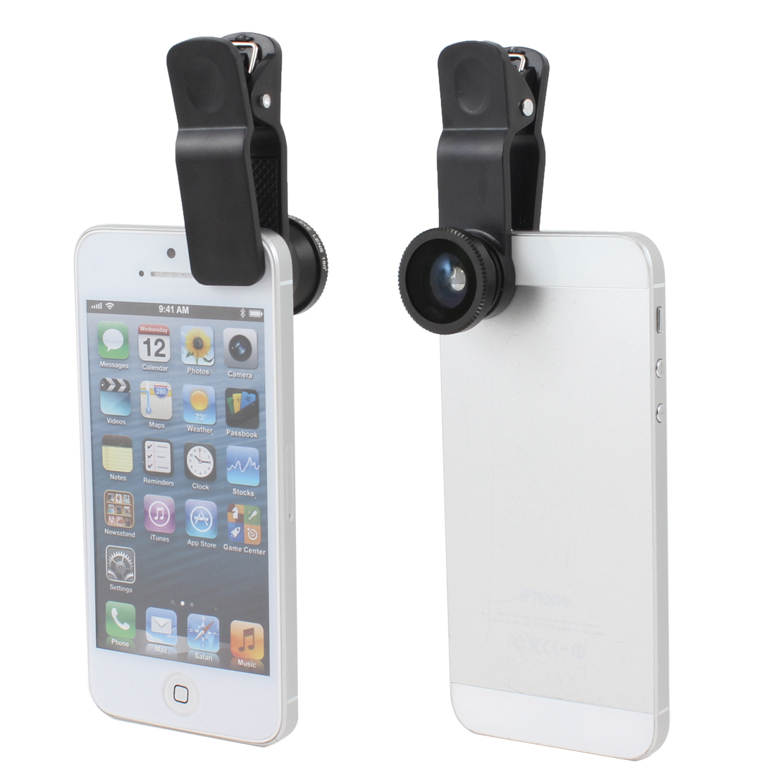 Black Fish Eye + Wide Angle + Macro Universal Clip Camera Lens for Cellphone
