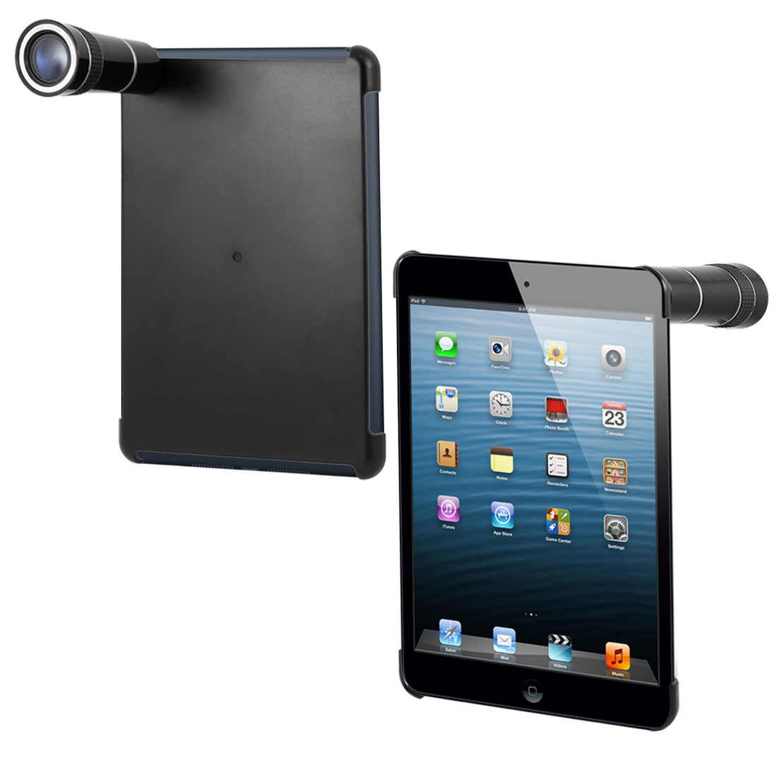 Optical Zoom 10X Camera Telescope Lens w Black Back Case Cover for iPad Mini
