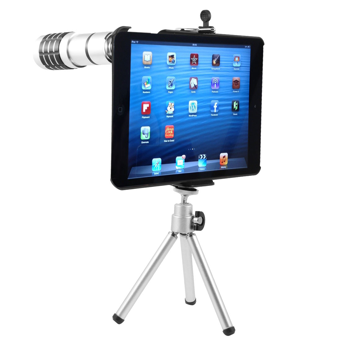 12X Zoom Telephoto Lens Camera Telescope + Telescopic Tripod + Case for iPad Mini