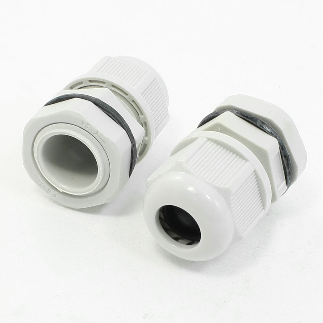Waterproof PG11 Graywhite Hard Plastic 5-10mm Cables Gland 2 Pcs